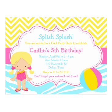 Beach Themed Blonde Girl Pool Party Bash Party Postcard