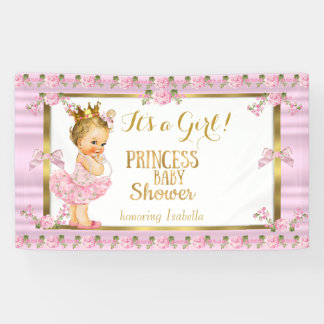 Blonde Girl Princess Baby Shower Pink Gold Tutu Banner