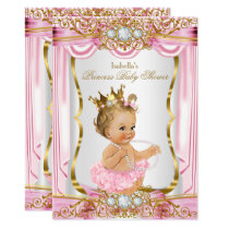 Blonde Girl Princess Baby Shower Pink Silk Gold Card