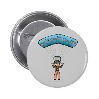 Blonde Girl Sky Diver Pinback Button