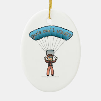 Blonde Girl Sky Diver Ceramic Ornament