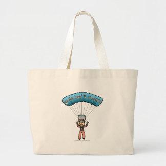 Blonde Girl Sky Diver Large Tote Bag