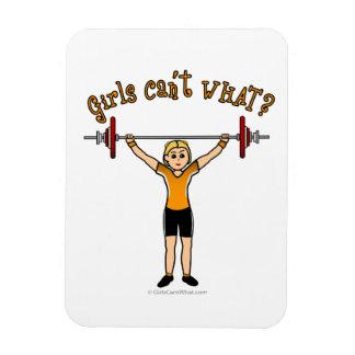 Blonde Girl Weightlifting Magnet