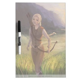 Blonde Girl With Bow And Arrow Illustration Dry Erase Whiteboards
