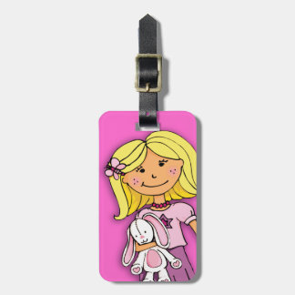 Blonde girl with bunny kids named luggage tag