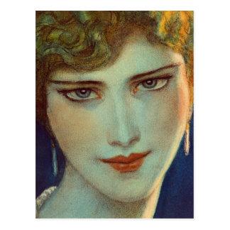 Blonde girl with earrings postcard