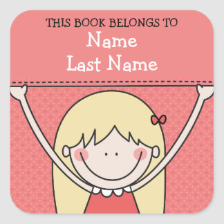 Blonde Girl with Long Hair and Sign Bookplates