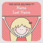 Blonde Girl with Long Hair and Sign Bookplates Square Sticker