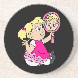 blonde girl yellow dress sandstone coaster