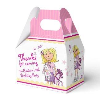 Blonde Girls 6th birthday gift thank you favor box