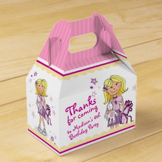 Blonde Girls 6th birthday gift thank you favor box