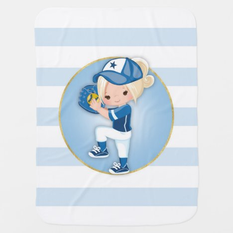 Blonde Girls Blue Softball Baby Blanket