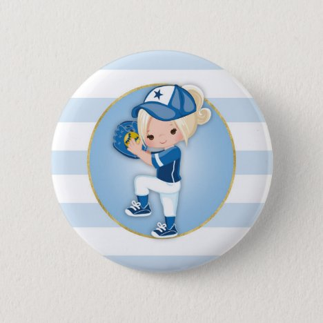 Blonde Girls Blue Softball Button