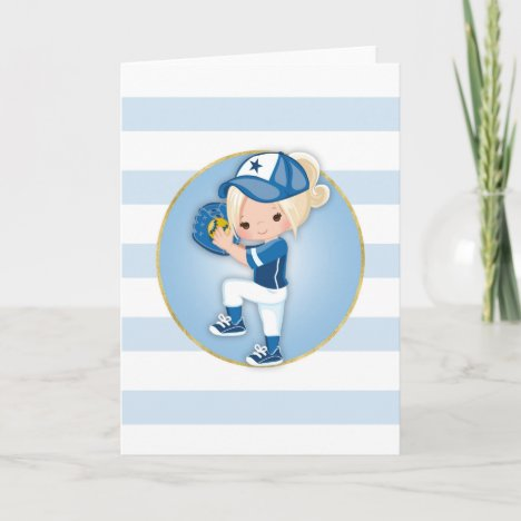 Blonde Girls Blue Softball Card