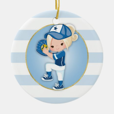Blonde Girls Blue Softball Ceramic Ornament