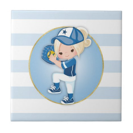 Blonde Girls Blue Softball Ceramic Tile