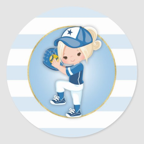 Blonde Girls Blue Softball Classic Round Sticker