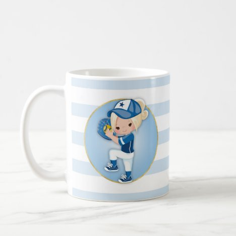 Blonde Girls Blue Softball Coffee Mug