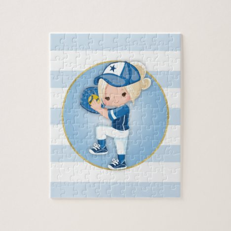 Blonde Girls Blue Softball Jigsaw Puzzle