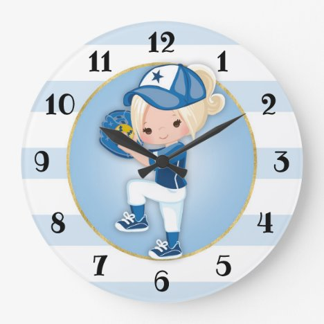 Blonde Girls Blue Softball Large Clock