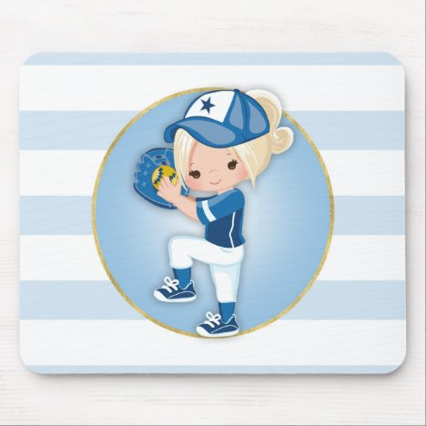 Blonde Girls Blue Softball Mouse Pad