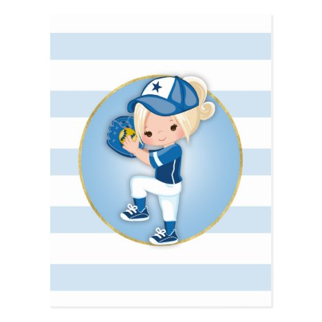 Blonde Girls Blue Softball Postcard