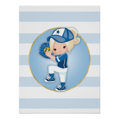 Blonde Girls Blue Softball Poster