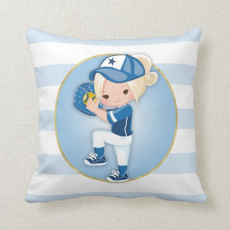 Blonde Girls Blue Softball Throw Pillow