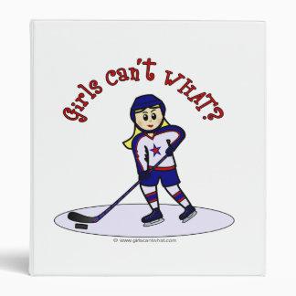Blonde Girls Hockey Player 3 Ring Binder
