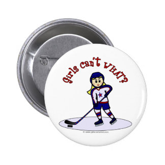 Blonde Girls Hockey Player Button