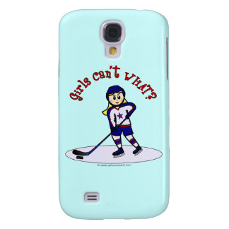 Blonde Girls Hockey Player Galaxy S4 Cases