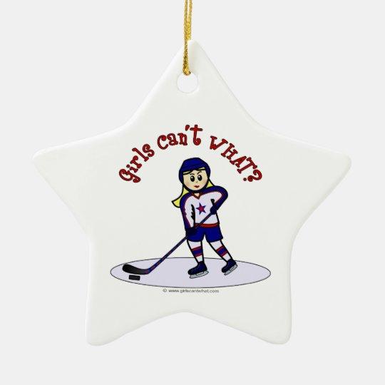 Blonde Girls Hockey Player Ceramic Ornament