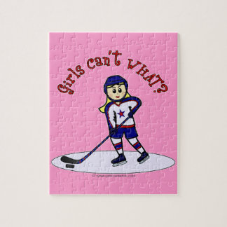 Blonde Girls Hockey Player Jigsaw Puzzle