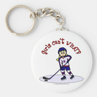 Blonde Girls Hockey Player Keychain