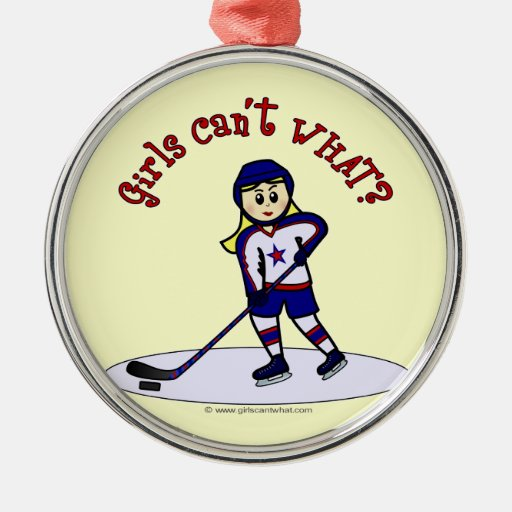 Blonde Girls Hockey Player Christmas Tree Ornaments