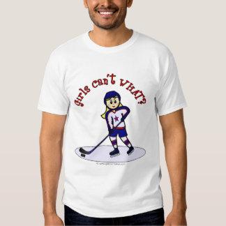 Blonde Girls Hockey Player Shirt