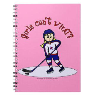 Blonde Girls Hockey Player Spiral Notebook