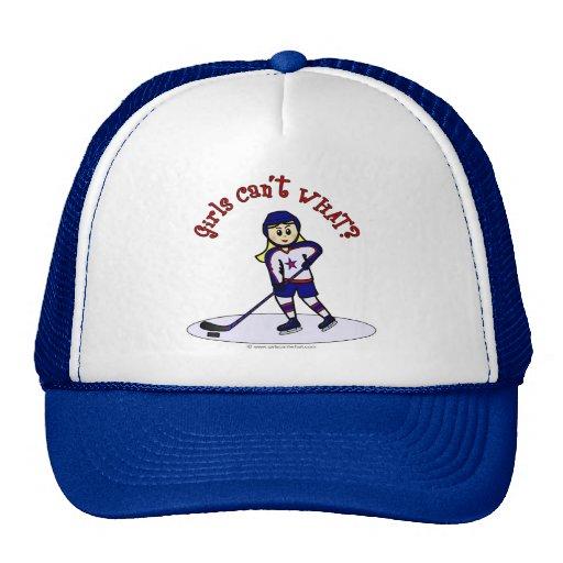 Blonde Girls Hockey Player Trucker Hat