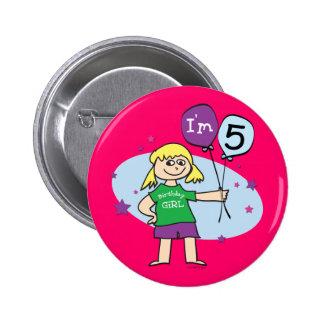 Blonde Girls I'm 5 5th Birthday Pinback Button