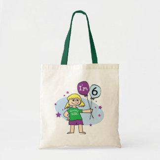 Blonde Girls I'm 6 6th Birthday Canvas Bag