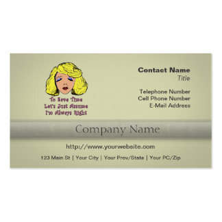 Blonde Glamour Girl Save Time Always Right Business Card Template