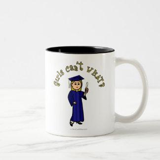 Blonde Graduate in Blue Two-Tone Coffee Mug