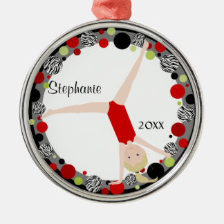 Blonde Gymnast in Red, Black & Green Personalized Metal Ornament