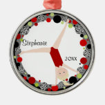 Blonde Gymnast in Red, Black & Green Personalized Christmas Tree Ornaments