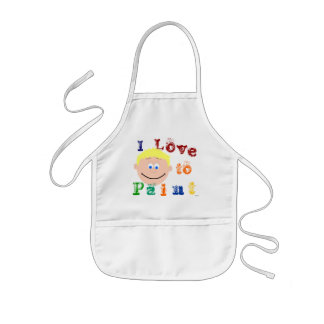 Blonde Hair Boys Smiling Face Painting Apron