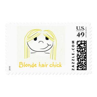 Blonde hair chick stamp