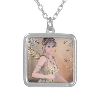 Blonde Hair Fairy girl and Butterfly Square Pendant Necklace