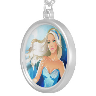 Blonde hair fashion model with blue headband round pendant necklace