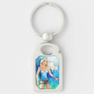 Blonde hair fashion model with blue headband Silver-Colored rectangular metal keychain