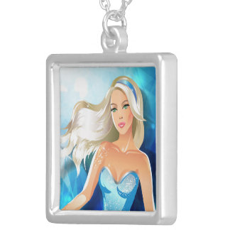 Blonde hair fashion model with blue headband square pendant necklace